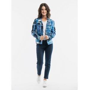Modrá dámská vzorovaná džínová bunda Orientique Jacket