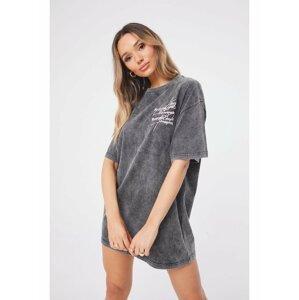 Tmavě šedé dámské šaty  DRESS T-SHIRT SEASON SIGNATURE DOUBLE