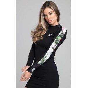 Černé dámské pouzdrové šaty DRESS BODYCON PIXEL FLORAL