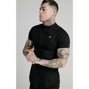 Černá pánská košile SHIRT COLLAR GRANDAD S/S