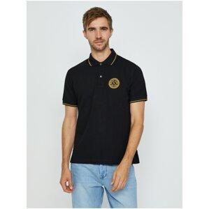 Černé pánské polo triko Versace Jeans Couture S Vemblem S EMB Gold