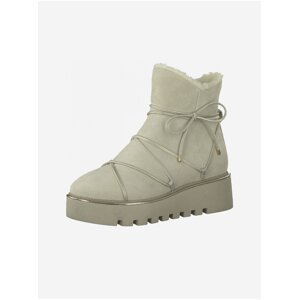 Krémové kožené zimní boty Tamaris