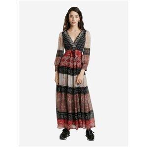 Červené dámské vzorované maxi šaty Desigual Estambul