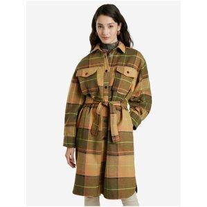 Hnědý dámský kostkovaný kabát Desigual Abrig Checks