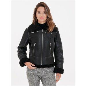 Černá dámská bunda s pravou kožešinou KARA
