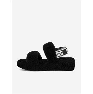 Černé dámské kožené sandály s kožíškem UGG Oh Yeah