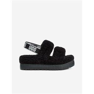 Černé dámské kožené sandály s kožíškem UGG Oh Fluffita
