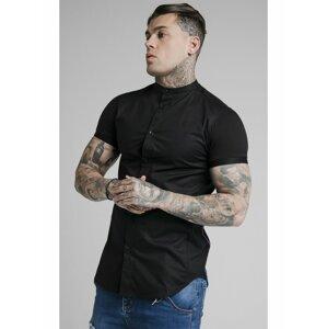 Černá pánská košile SHIRT GRANDAD FADE S/S