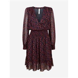 Černo-červené dámské vzorované šaty Pepe Jeans Carine
