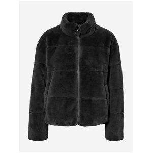 Černá bunda z umělého kožíšku VERO MODA Lyon
