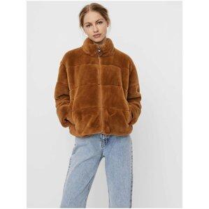 Hnědá bunda z umělého kožíšku VERO MODA Lyon