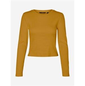 Oranžové žebrované basic tričko VERO MODA Natasha