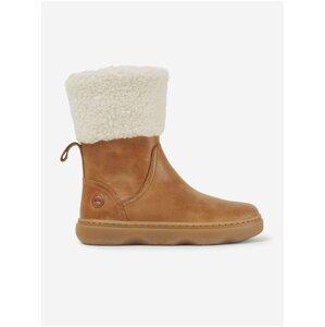 Hnědé holčičí kotníkové kožené boty s kožíškem Camper Melody