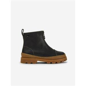 Černé holčičí kotníkové kožené boty Camper Nappon