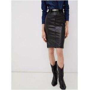 Černá dámská pouzdrová koženková sukně Liu Jo