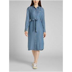 Modré dámské košilové midišaty Lee Western
