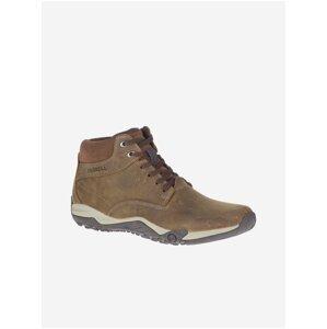 Hnědé pánské semišové kotníkové boty Merrell Helixer