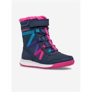 Tmavě modré holčičí kožené zimní boty Merrell Snow
