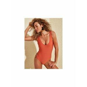 Oranžové jednodílné plavky Trendyol