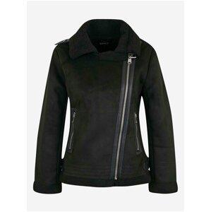 Černá bunda v semišové úpravě s kožíškem ONLY Diana