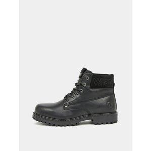 Černé pánské kožené zimní boty Wrangler Arch