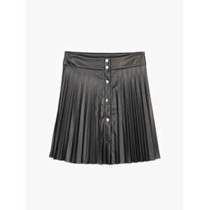 GATE Áčková skládaná sukně z imitace kůže dámská