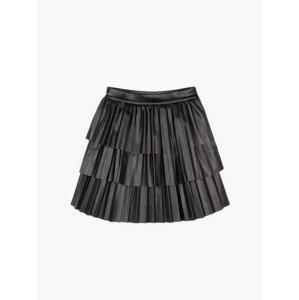 GATE Mini sukně z imitace kůže s volány dámská